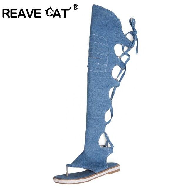 REAVE KEDI Kadın tanga ayakkabı Denim yaz çizmeler Düşük topuklu diz yüksek çizmeler Kadın siyah mavi bej ayakkabı klip ayak Sıcak A704