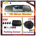 "5"" HD Car Mirror Monitor 800 x 480 & Car Parking sensor 6 Color Radar 4 Sensor System +  CCD Rear View Camera parking assist"