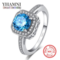 Have S925 Logo Real 925 Sterling Silver Ring Women Jewelry Luxury Sapphire 1 Carat Blue CZ Diamond Wedding Rings for Women YR012