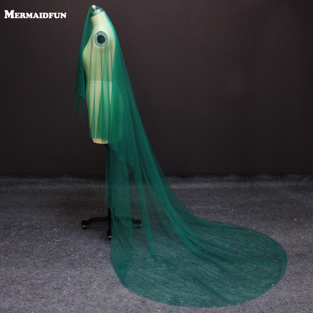 Real Photos New One Layer 3 Meters Green Tulle Wedding Dress WITHOUT Comb Beautiful Bridal Veil