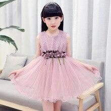 girls dress 2017 New Sweet Summer Flower Dress Sleeveless chiffon baby 3-12 years old girl clothes