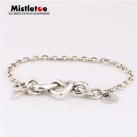 Mistletoe Authentic 925 Sterling Silver Knotted Heart Bracelet Eurpeon Jewelry