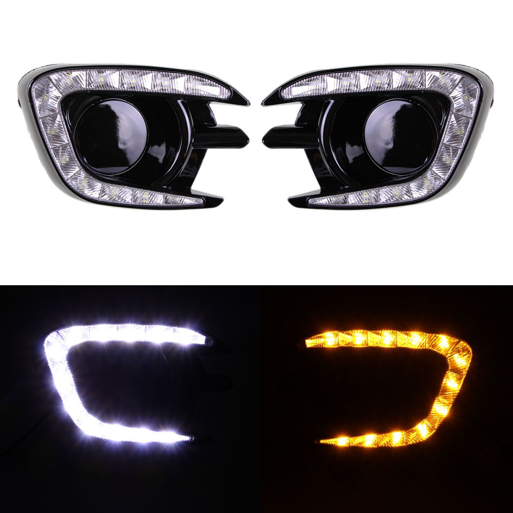 Daytime Running Light DRL for Mitsubishi Pajero Sport 2013 2014 2015 Left Right side White DRL / Yellow Turning Signal Light защита кпп автоброня 111 04047 1 mitsubishi l200 2015 mitsubishi pajero sport 2016 2 4d 3 0