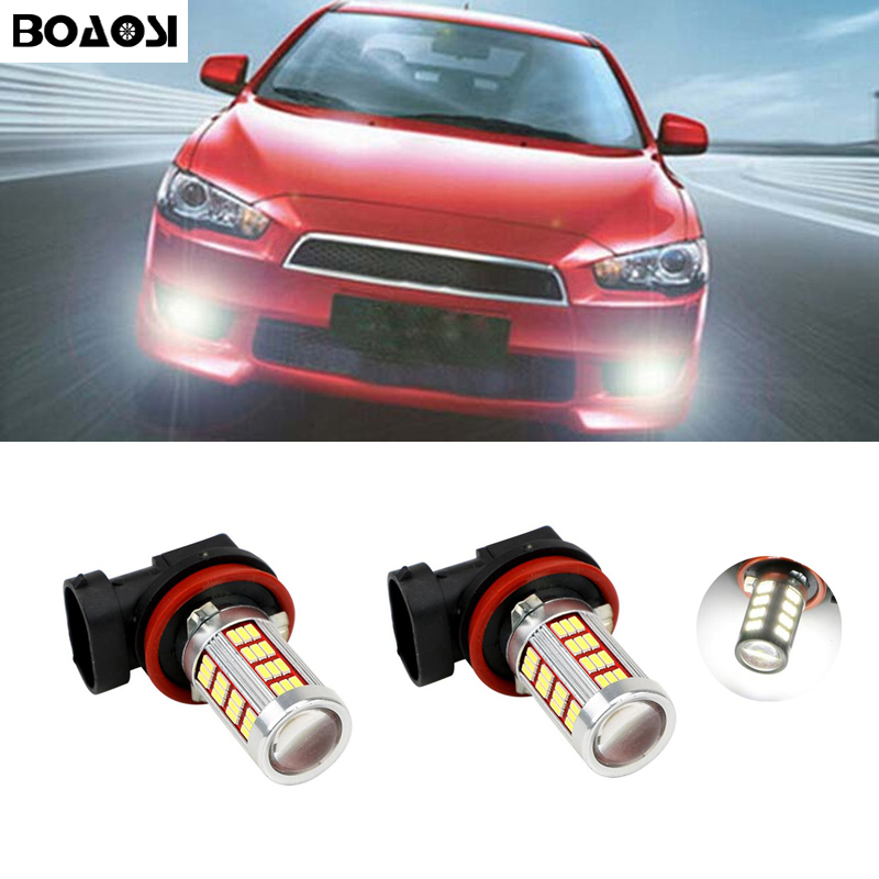 BOAOSI 2x H8 H11 4014SMD LED Fog DRL Light Bulb Lamp For Mitsubishi Lancer 2010-2014 Mitsubishi Asx Car Styling 2x led h11 h8 h9 h11 no error decoder 80w with cree chip car bulb light fog lamps drl headlights for bmw 3 e90 e92 x5 2002 2010