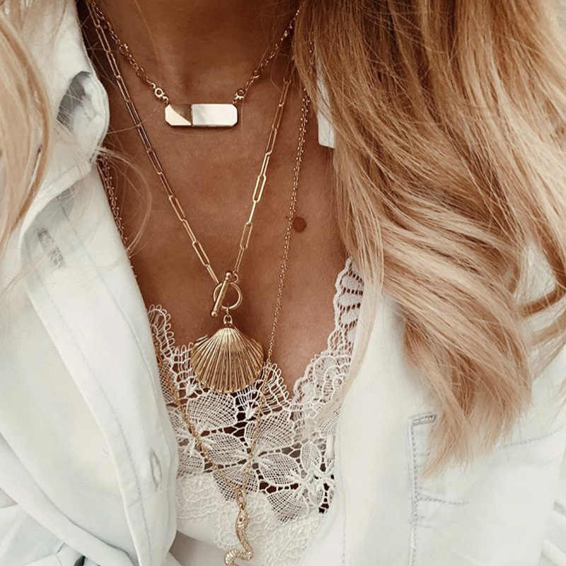 New Fashion boho Shell Pendant Necklaces For women summer beach pearl conch gold color chain statement necklace jewelry 2019