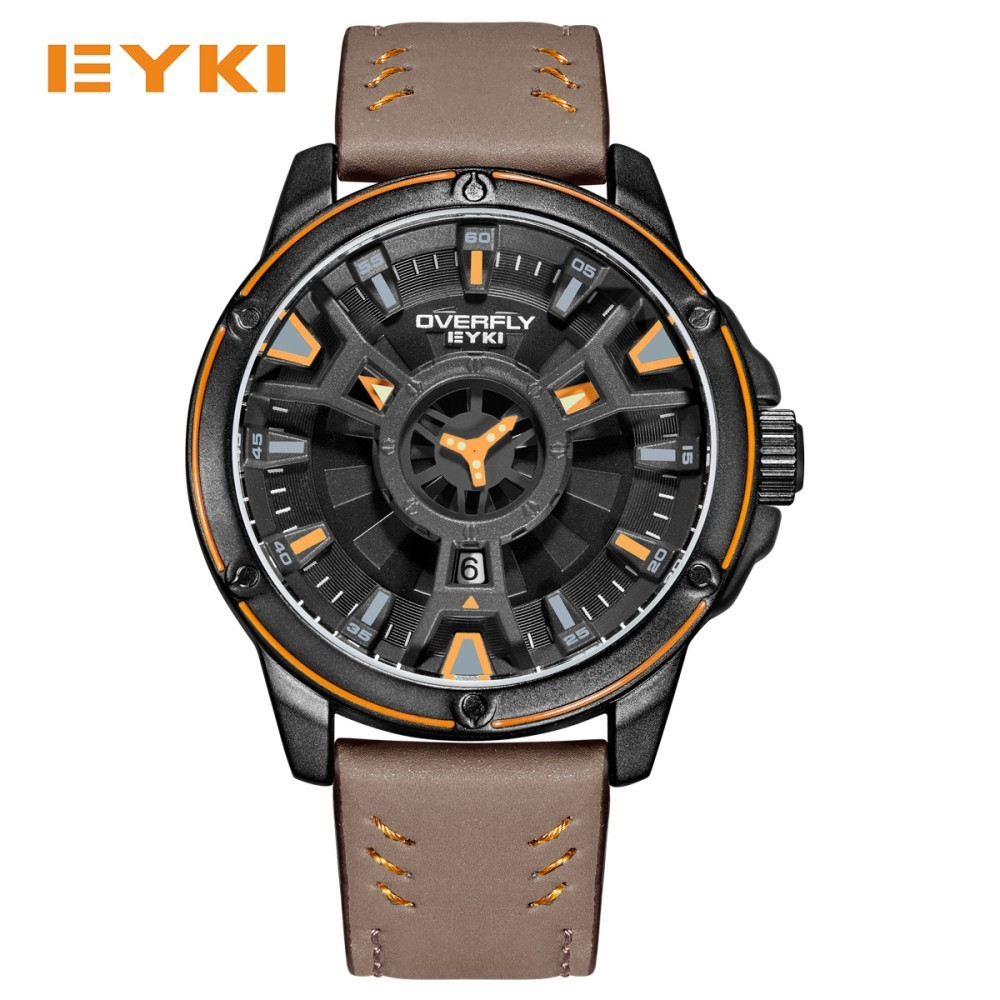 EYKI Cool Double Three-dimensional Dial Sport Watches For Men Leather Strap Waterproof Man Watch 2017 Military Quartz Mens Watch men quartz watches new fashion sport oulm japan double movement square dial compass function military cool stylish watch relojio