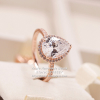Fashion Jewelry Ring 2018 Autumn Rose Gold Radiant Teardrop With Clear CZ Rings For Women Jewelry Rings