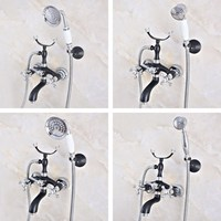 Wall Mounted Telephone Style Clawfoot bath and shower faucet set shower bathtub faucet Chrome & Black Oil Rubbed Brass ana635