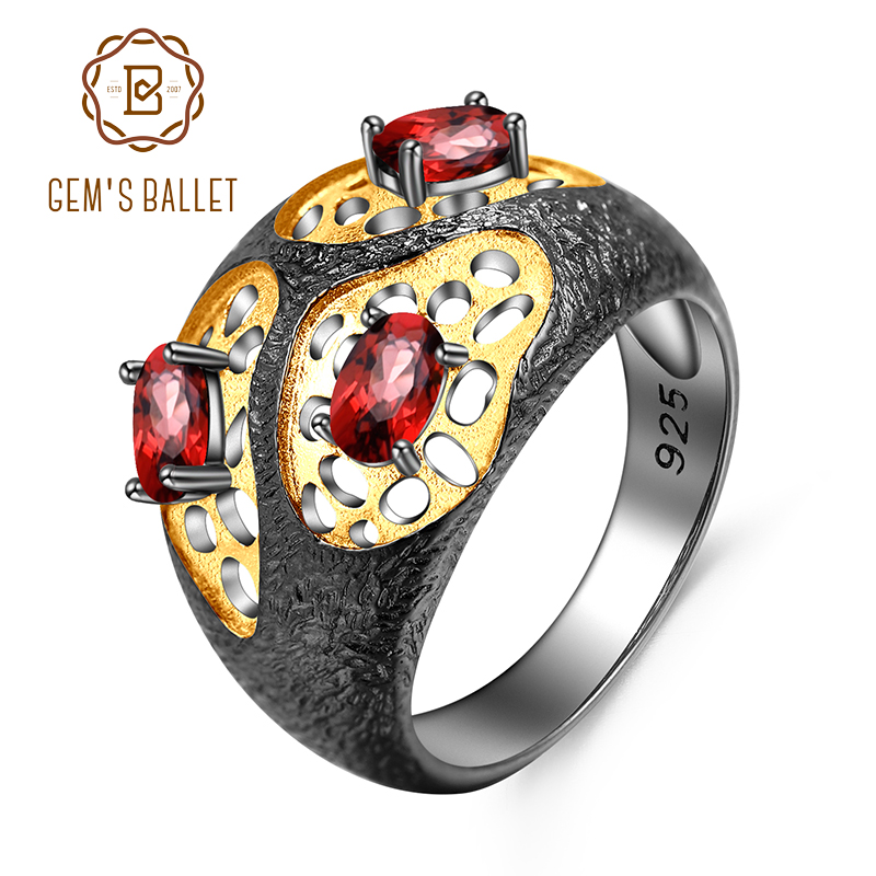 GEM S BALLET The Persistence of Memory Style Ring Natural Garnet Ring 925 Sterling Silver Handmade