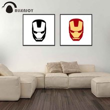 Allenjoy Abstract Canvas Painting Red Yellow Iron Man Mask Cartoon Posters Modern Home Children Bedroom Living Room Pictures