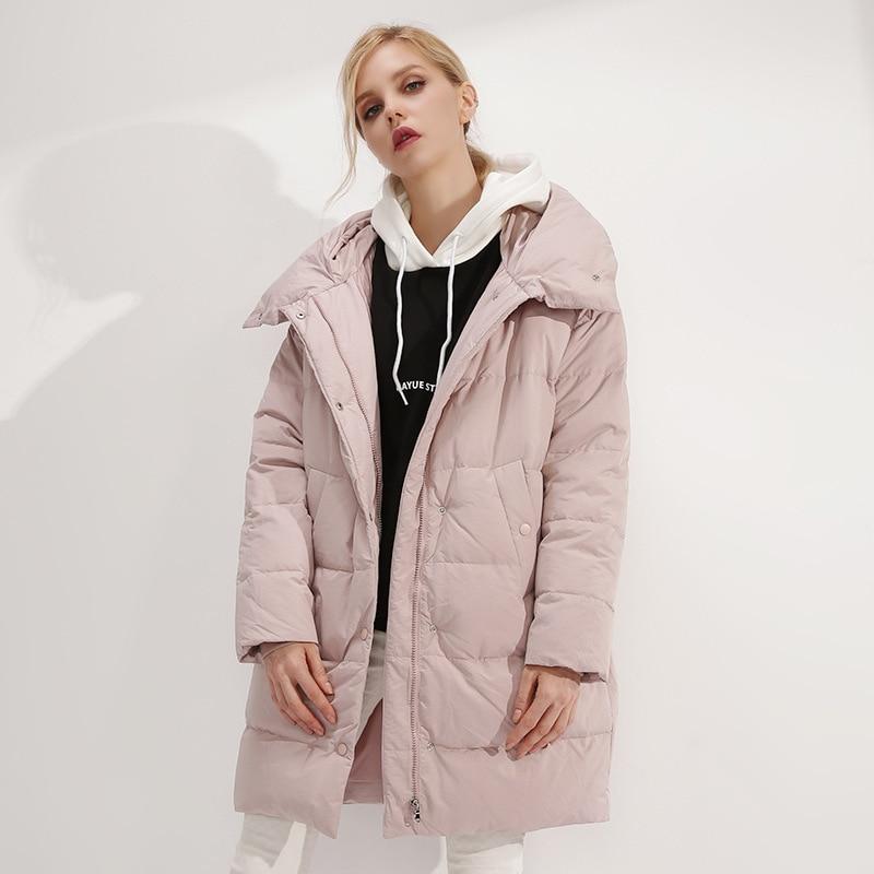 ec1f6fd2e21 2018 winter new high-end women's fashion hat white duck down jacket lady warm  high quality down jacket female coat