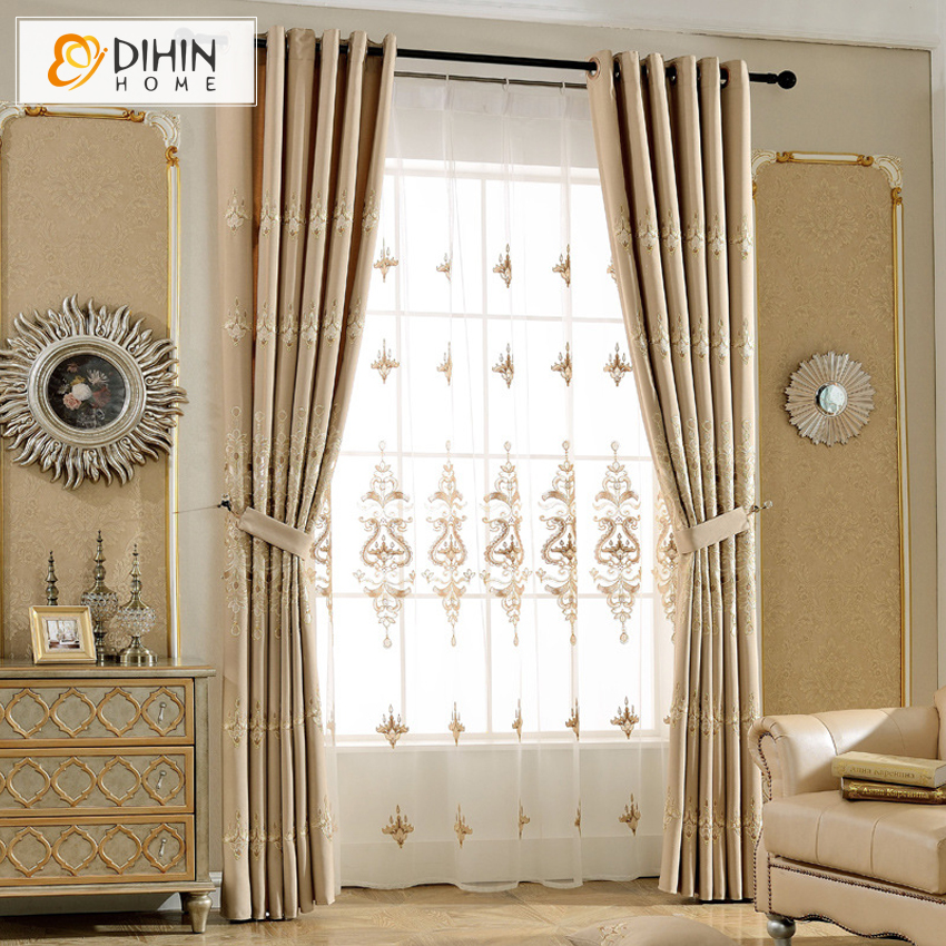 Embroidered Blackout Curtains For Living Room Luxury Jacquard Window Blinds Drapes 1 Panel Cortinas Bedroom