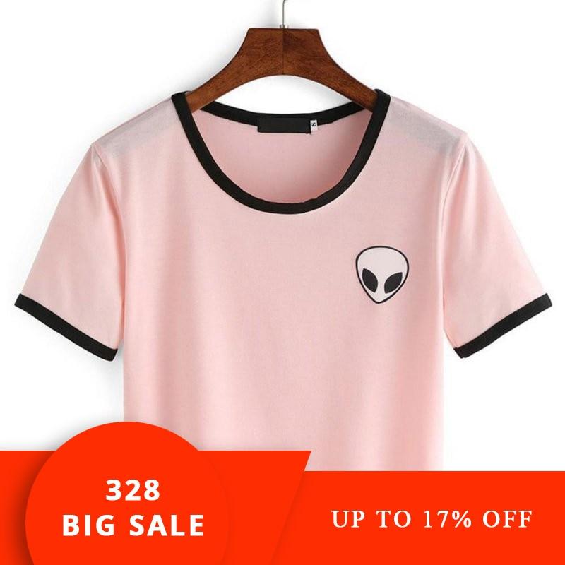 2019 di Modo 3d di Stampa Aliens crop top Manica Corta Donne Della MAGLIETTA Breve Adolescenti T-Shirt Magliette e camicette di Estate Girocollo Magliette ragazze