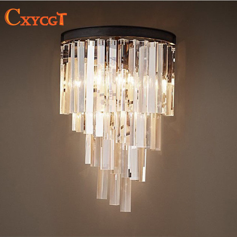 Modern Art Decor Vintage K9 Crystal Chandelier Wall Sconce Lamp Light Lighting for Home Hotel Dining Room Decor Lighting fixture