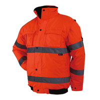 Hi Vis Orange Thermal Safety Bomber Jacket With Removable Sleeves Reflective Workwear