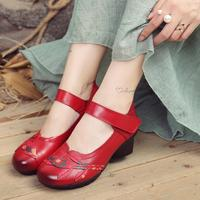 RUSHIMAN Spring Autumn Shoes Woman Genuine Leather Round Toe Sandals Casual Flats 2018 New Fashion handmade Women Sandals