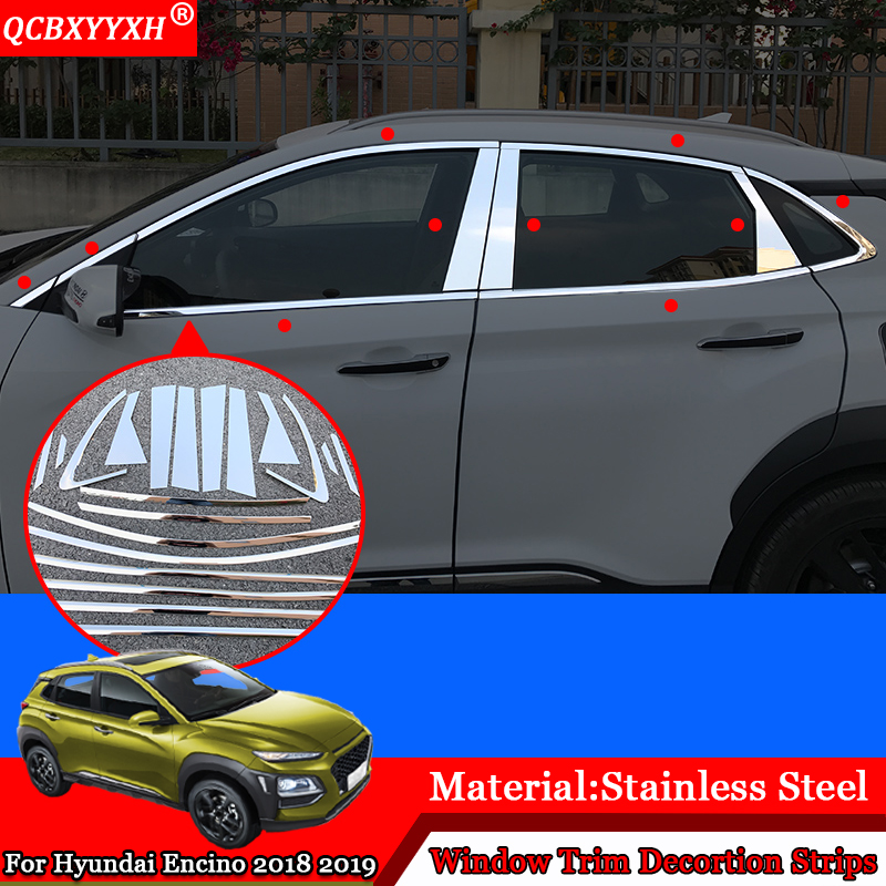 QCBXYYXH Car styling Car External Window Sequins Decorations Stickers Frame Auto Accessories For Hyundai Kona Encino