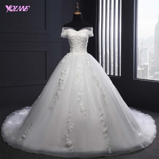YQLNNE 2018 Off the Shoulder Ball Gown Wedding Dress Lace-up Bridal Dresses