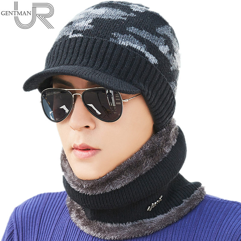 New Camouflage Winter Hats Fashion Winter Knitted Hat Scarf Set For Men Women Wool Visor Beanies Hat Warm Gorras Bonnet Cap