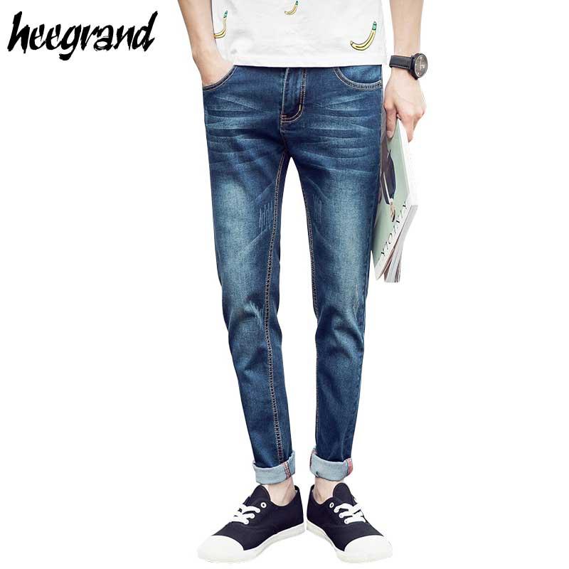 Men Basic Jeans 2017 New Fashion Men's Basic Blue Slim Fit Pencil Jeans Male Easy Match Denim Jeans MKN712 шлепанцы pepe jeans bio basic