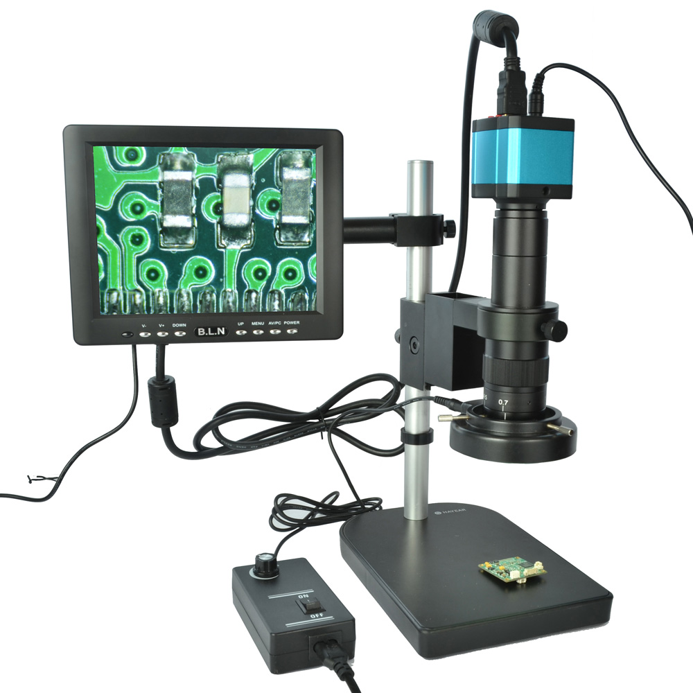 Full Set 14MP Industrial Microscope Camera HDMI USB Outputs with 180X C-mount Lens 60 LED Light Microscope with 8 HD LCD Screen image