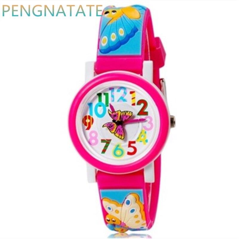 Уиллис 3D бабочка каучуковый ремешок Повседневные часы Элитный бренд Водонепроницаемый детей qlastic Часы часы ребенок часы pengnatate