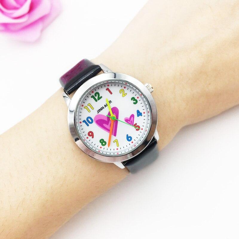 Cute Girls Watches Kids Colorful Cartoon Heart Analog Quartz Watch Children Vogue Leather Strap Student Wristwatch Women Gifts