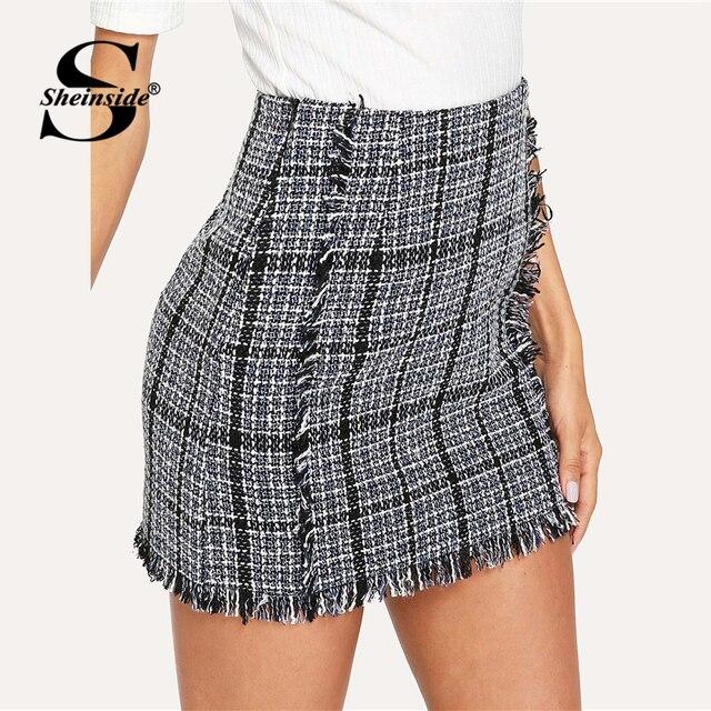 549b0f21cb866 Sheinside Plaid Frayed Trim Tweed Bodycon Mini Skirt For Women High Waist  Multicolor Autumn Ladies Elegant