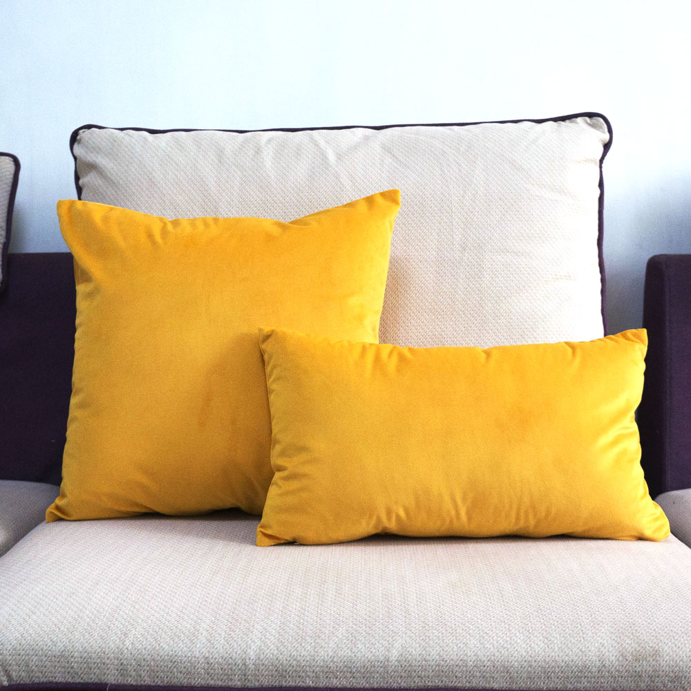 High Quality Soft Velvet Yellow Silk Pillow Case Cushion Cover Solid Color Pillow Cover No Balling-up Without Stuffing