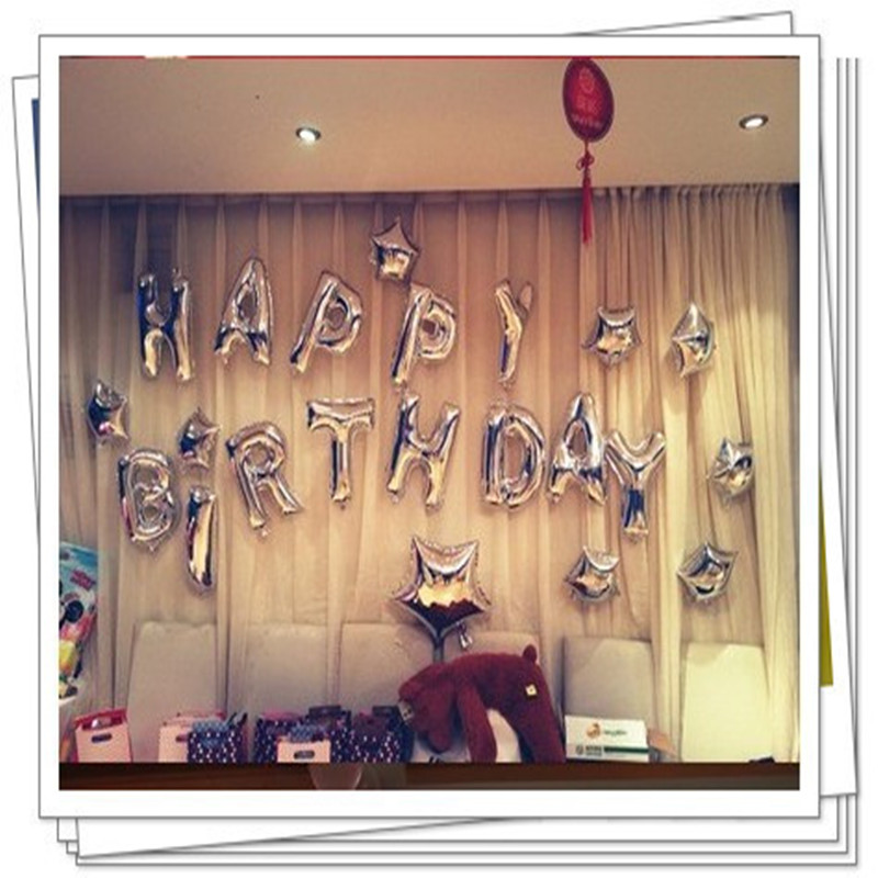Free Shipping New silver letters suit happy birthday balloons party decoration b