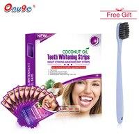 Onuge 14 Dầu Dừa Nha Khoa Đêm Khô Strips Mạnh Mẽ Teeth Whitening Strips Nha Khoa Nâng Cấp Công Thức Điều Trị + 1 CÁI Bàn Chải Đánh Răng