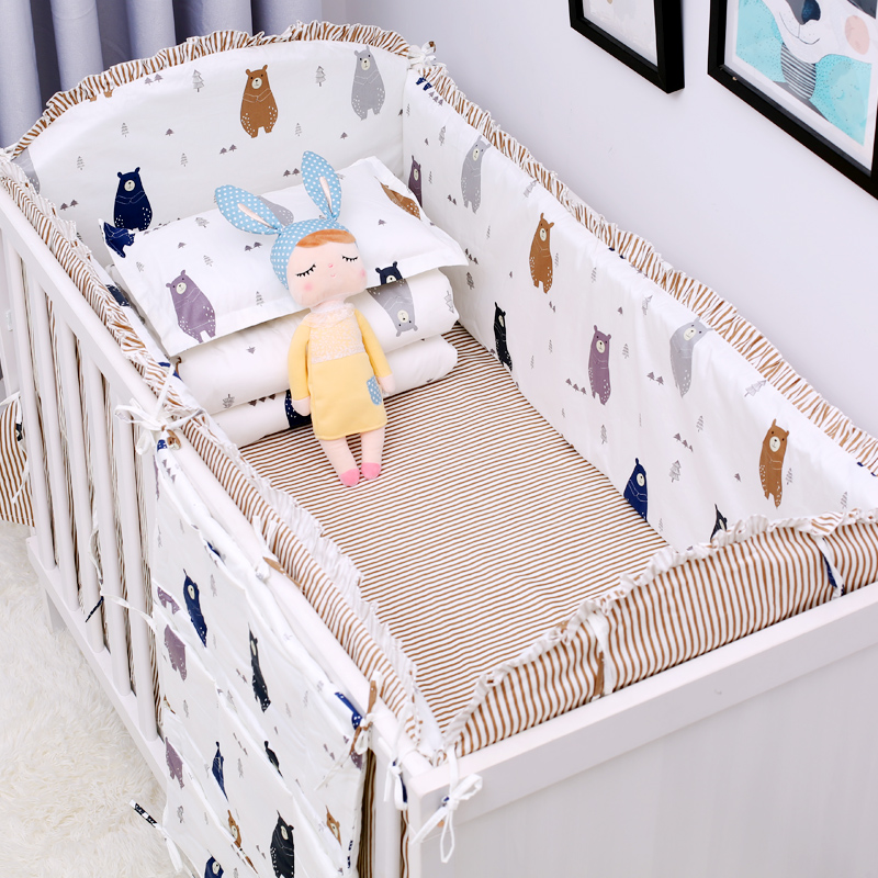 New arrival 6pcs set Cartoon Baby Bedding Set Cotton Crib Bedding Set Baby Bed Linens In