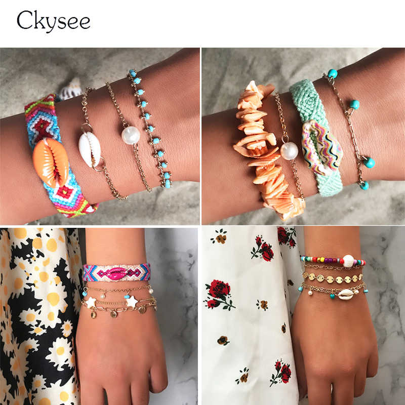 2019 New Friendship Bracelets For Children Handmade Woven Shell Star Pendant Chain Friendship Bracelet Bangle Women Girl Jewelry