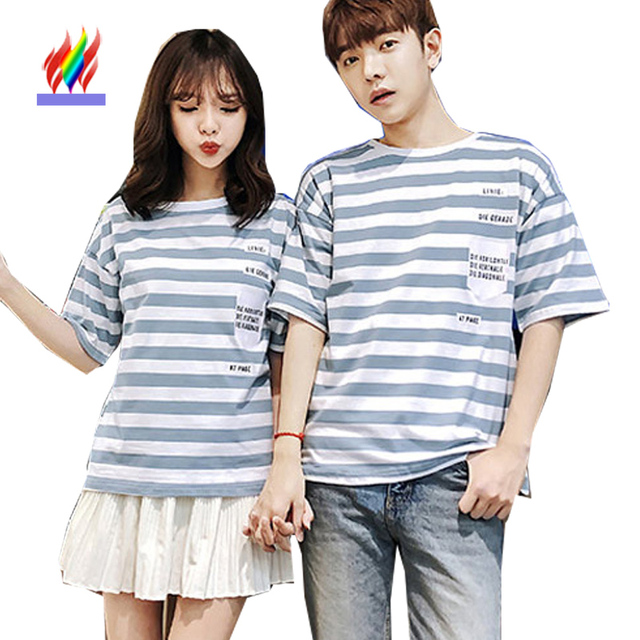 ea764e71acd8 Matching Couple Clothes Lovers T-Shirts Female Male Summer Short Sleeve  Cute Casual Striped Tops Korea Couple T Shirt Cotton