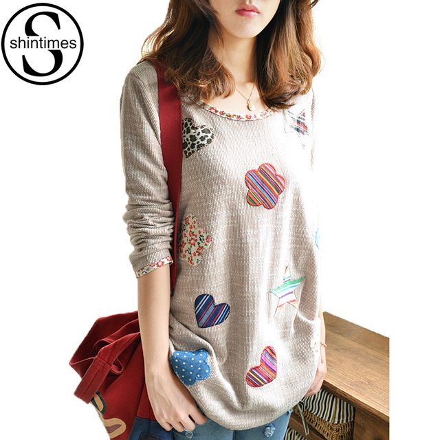 Geometric Loose Winter Tops Long Sleeve Blouse Plus Size Shirt Women Camisas Femininas 2016 Cotton Womens Clothes Ropa Mujer 4XL
