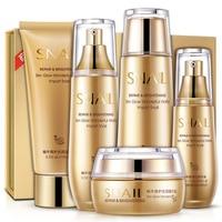 Bioaqua 5pcs/set Gold Snail Face Skin Care Set Moisturizing Whitening Facial Cream Toner Essence milk Cleanser Facial Set