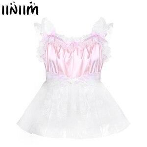 Image 1 - iiniim Adult Baby Mens Sissy Babydoll Crossdress Ruffled Lace Tulle Dress with Waist Belt Gay Male Night Club Costume Mini Dress