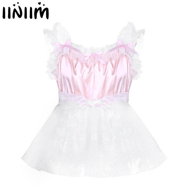 iiniim Adult Baby Mens Sissy Babydoll Crossdress Ruffled Lace Tulle Dress with Waist Belt Gay Male Night Club Costume Mini Dress