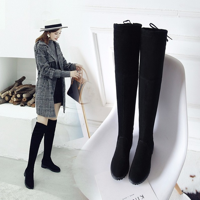 d0cd084b467fd Thigh High Boots Female Winter Boots Women Over the Knee Boots Flat ...