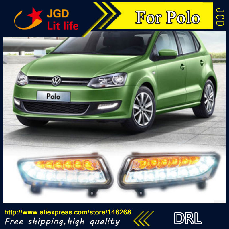 Free shipping ! 12V 6000k LED DRL Daytime running light for VW Polo fog lamp frame Fog light Car styling free shipping new pair halogen front fog lamp fog light for vw t5 polo crafter transporter campmob 7h0941699b 7h0941700b