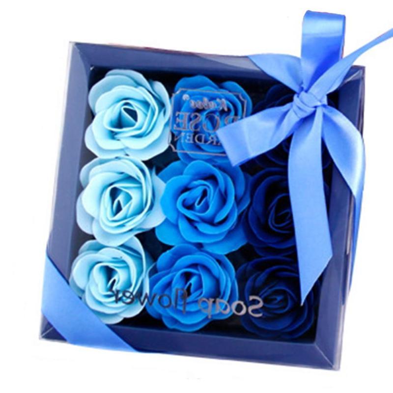 9 stks / doos Kleurrijke Hartvormige Rose Zeep Bloem Romantische - Feestversiering en feestartikelen - Foto 6