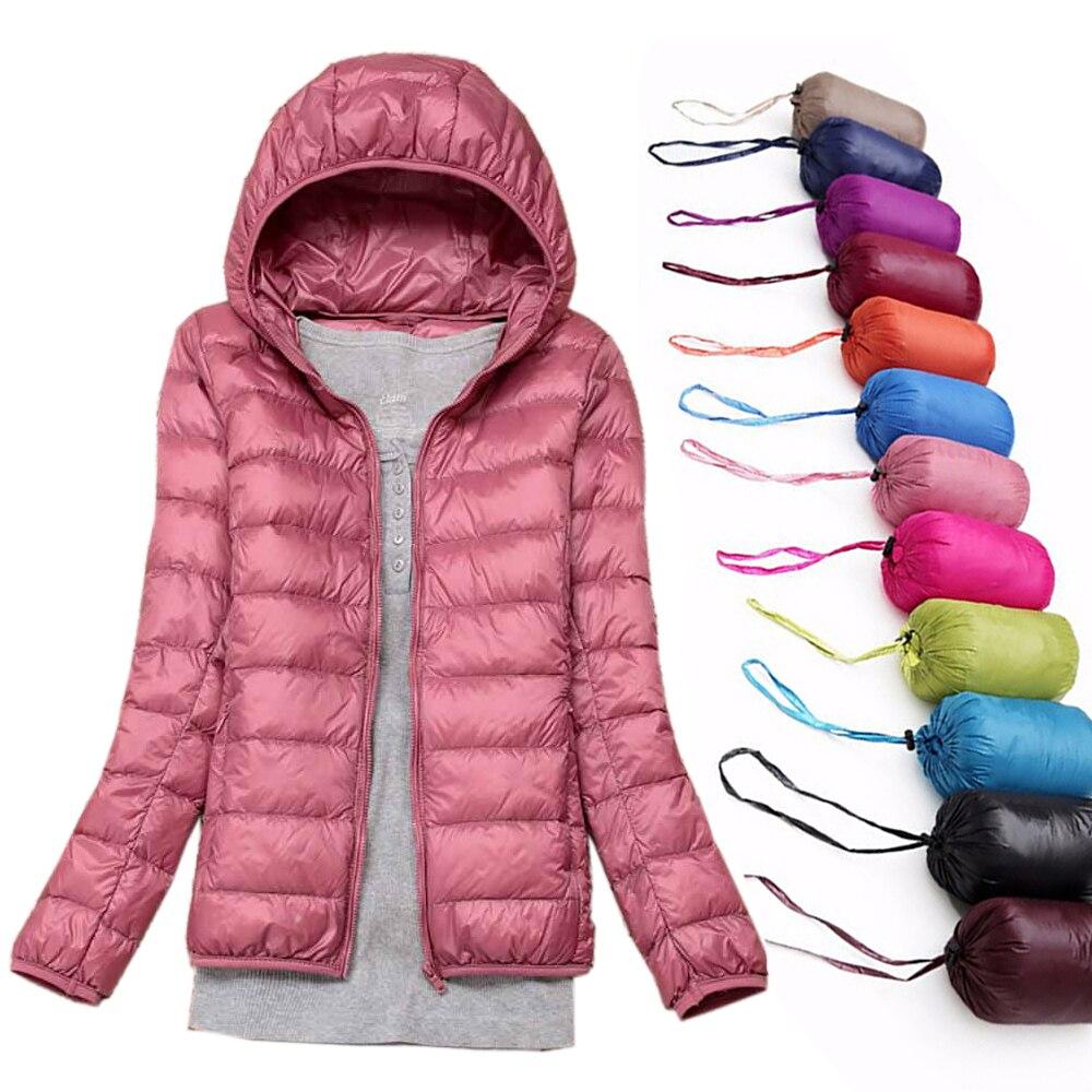 Plus Size 6XL Women Winter Jackets UltraLight White Duck Down Coat Spring Autumn Outwear Warm Windproof Slim Women's Hooded Coat