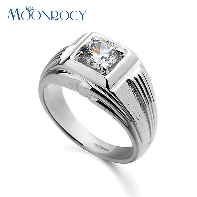 MOONROCY Free Shipping Wedding Fashion Mens Silver Color Cubic Zirconia Austrian Crystal Engagement Ring Big Size for Men