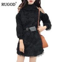 RUGOD 2018 New Mesh Patchworked Off Shoulder Fleece Dress Women Elegant Long Sleeve Sweater Dress With Pocket Belt Vestidos Robe