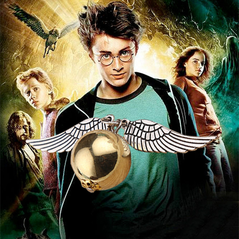 10pcs silver/gold alloy movie the deathly hallows the golden snitch magic necklace jewelry Harry necklace