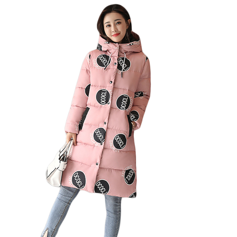High Quality Winter Jacket Women 2017 Fashion Long Cotton-padded Hooded Jacket Parka Dotprint Sunday Female Wadded Coat CM1733 lstu winter jacket women 2017 fashion cotton padded hooded jacket female wadded jacket outerwear winter coat women