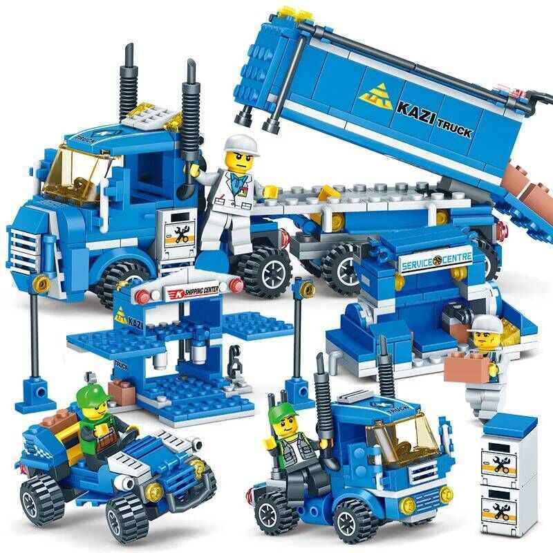 4 IN 1 KAZI compatible city blocks creator Van Trucks sets car figures constructor building bricks petrol station