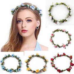 1 шт. Hairband Корона Цветочные Розы повязка лента для волос свадебный волос Венок головной убор