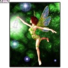 DIY Diamond Painting Cross Stitch Dragonfly Angels Diamond Embroidery Square Drill Diamond Mosaic Decoration Rhinestones Cartoon цена