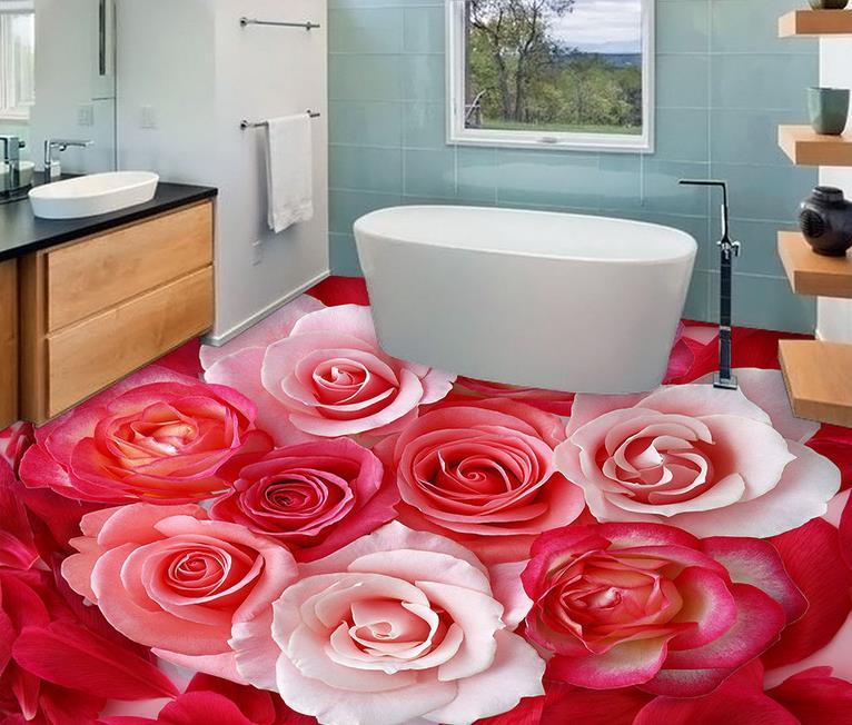 custom 3d flooring mural wallpaper Rose petals fashion vinyl floor ...
